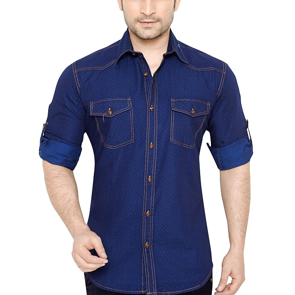 GlobalRang Mens Cotton Casual Denim Shirt
