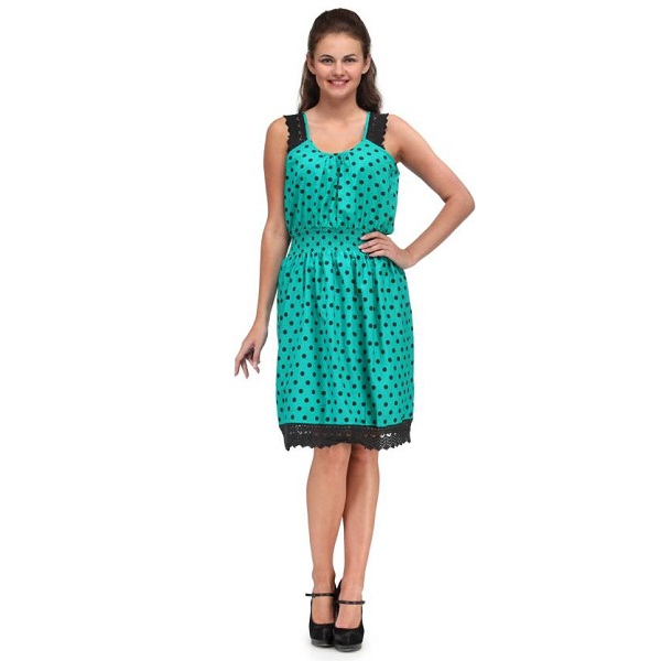 India Inc Womens Gathered Green Dress