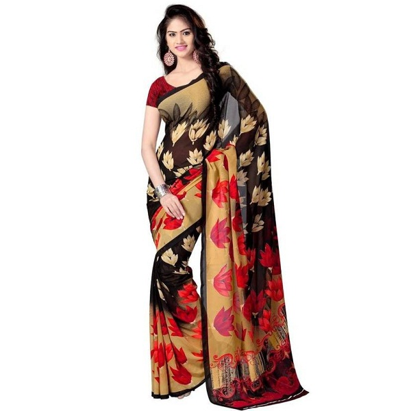 Parchayee Floral Print Fashion Georgette Saree