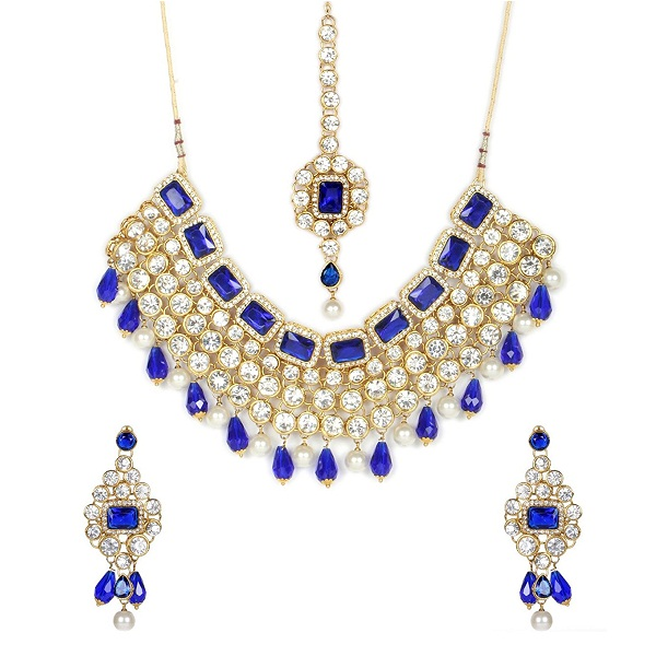 Shining Diva Blue Crystal Choker Traditional Necklace Set