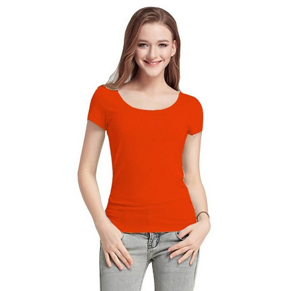 Fashion Line Casual Short Sleeve Solid Womens Orange Top
