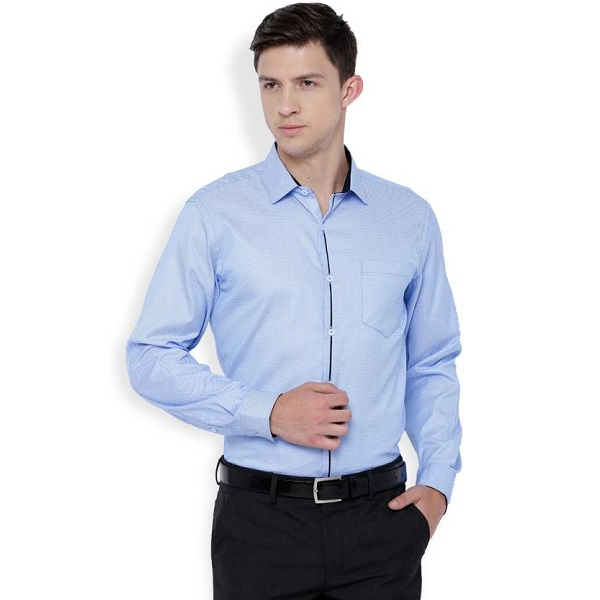 Mark Taylor Mens Solid Casual Blue Shirt
