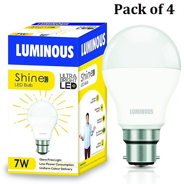 Pack of 4 Luminous Shine Eco Base B22 7Watt LED Bulb