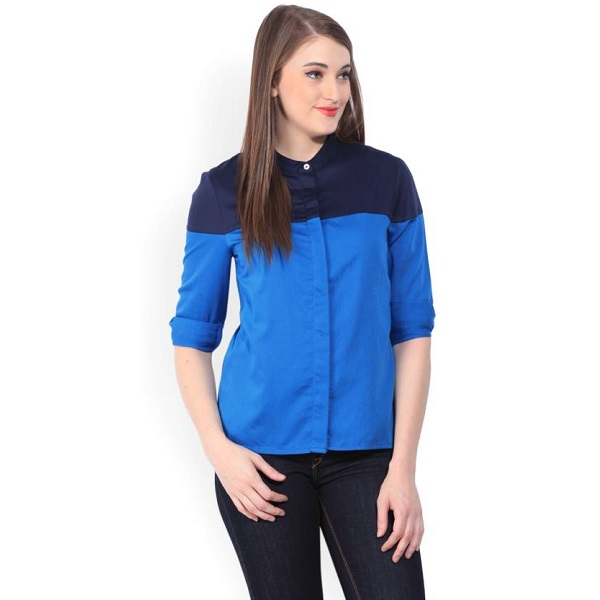 United Colors of Benetton Womens Solid Casual Blue Shirt