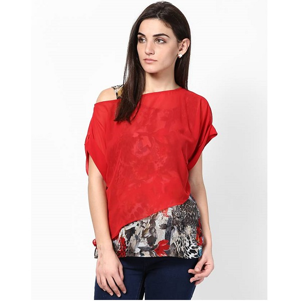 Athena Casual Short Sleeve Printed Womens Multicolor Top