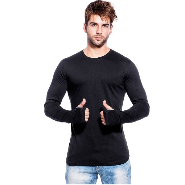 Maniac Solid Mens Round Neck Black TShirt