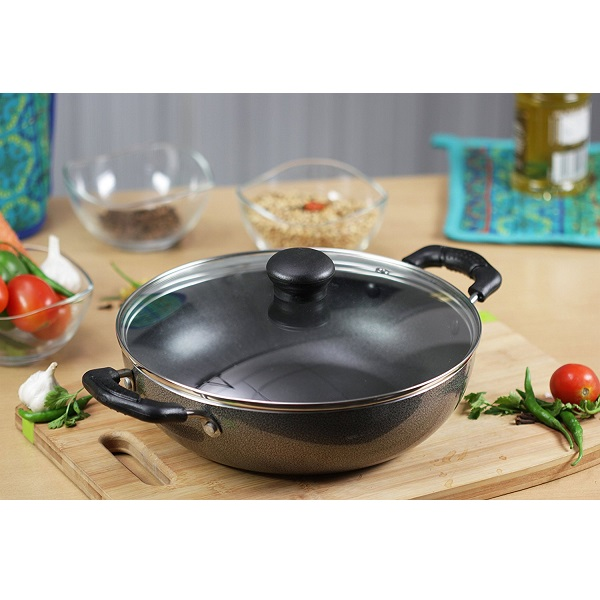 Kreme NonStick Kadai with Glass Lid