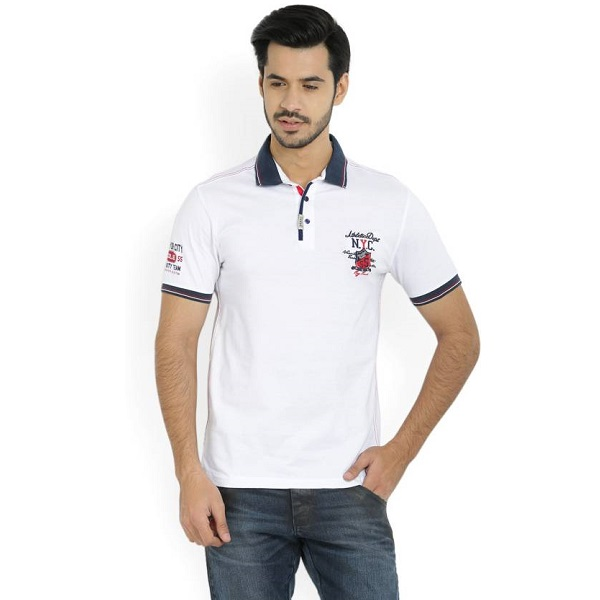 Maniac Solid Mens Polo Neck White TShirt