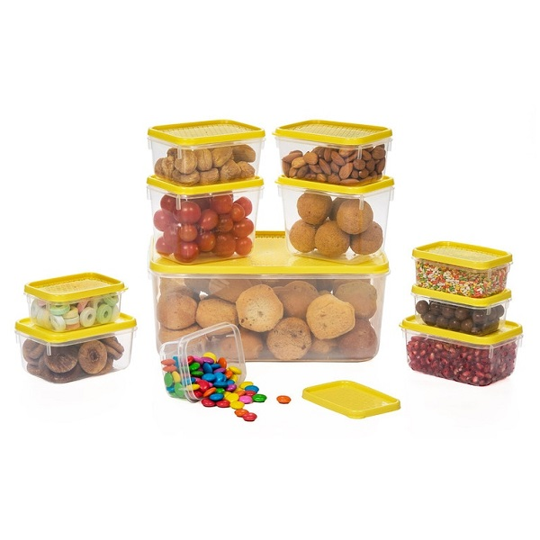 All Time Yellow Plastic Polka Containers Set of 11
