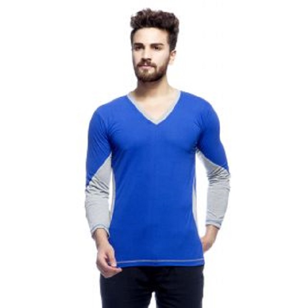 Demokrazy Mens Blue Round Neck T Shirt