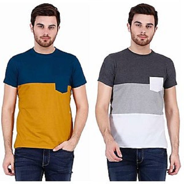 Combo of 2 Stylogue Mens Multicolor Round Neck T shirt