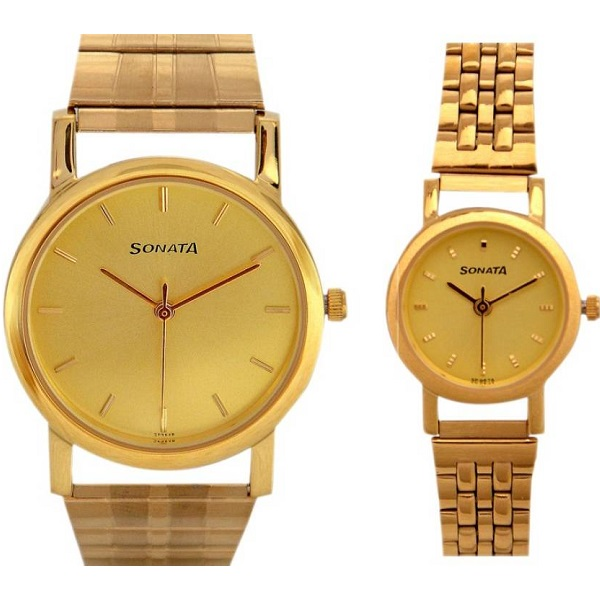 Sonata dg85 Gold Plated Watch For Couple