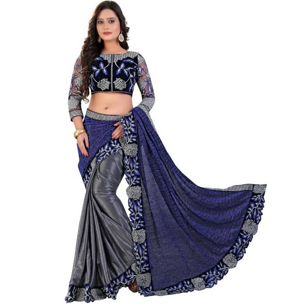 Rudra Fashion Embroidered Bollywood Lycra Saree