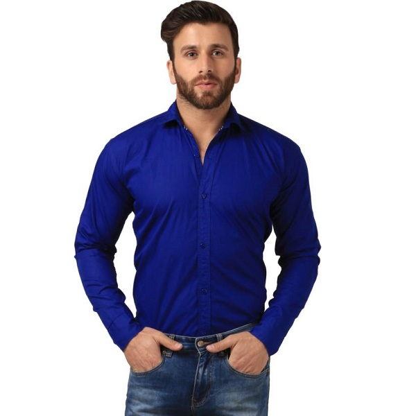 Mesh Mens Solid Casual Blue Shirt