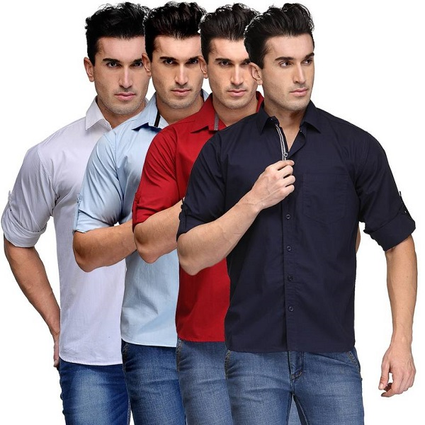 TSX Mens Solid Casual Multicolor Shirt Pack of 4