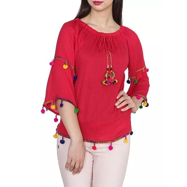 Red Sleeve Peplum Top