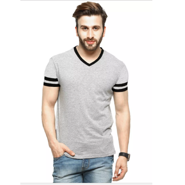 Tripr Mens VNeck Tshirt Grey Black Strip