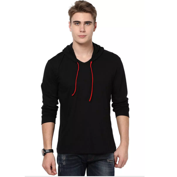 Katso Slim Fit Stylish Hooded Black TShirt