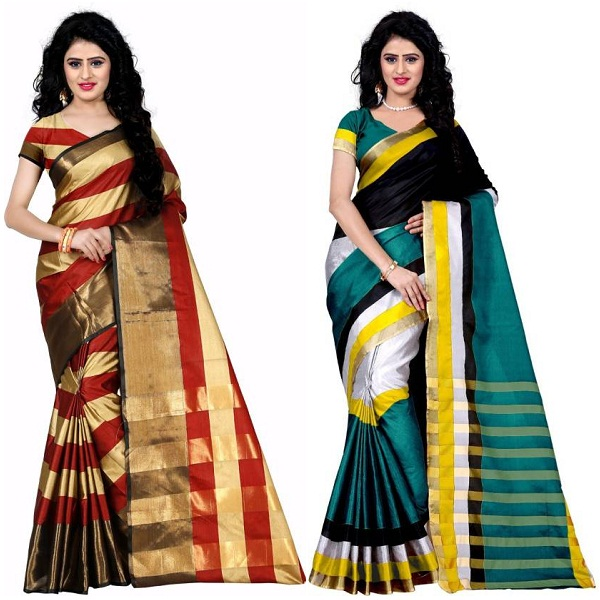 Trendz Style Striped Fashion Tussar Silk Saree