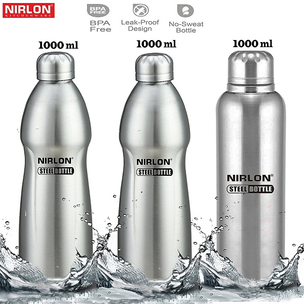Nirlon Stainless Steel Water Bottle Set 3 Pieces