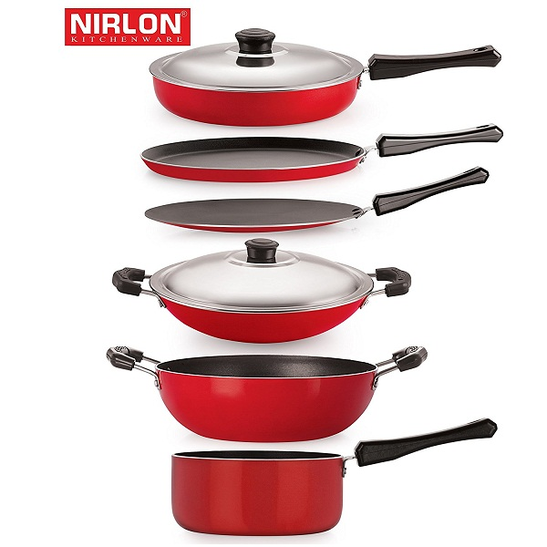 Nirlon Non Stick Aluminium Cookware Set 6 Pieces