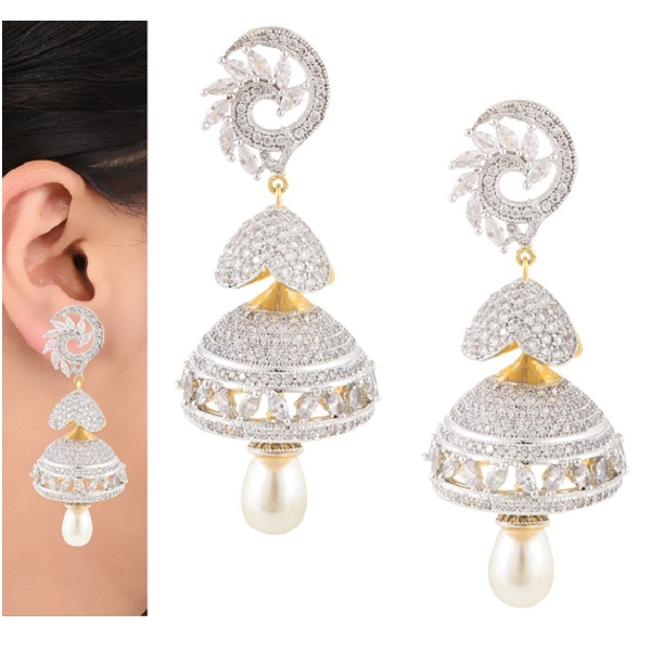 Swasti Jewels American Diamond CZ Fashion Jewellery Traditional Jhumki Earrings