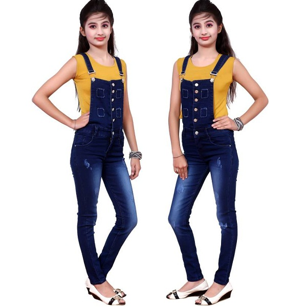 Fnocks Dungaree For Girls Casual Solid Denim