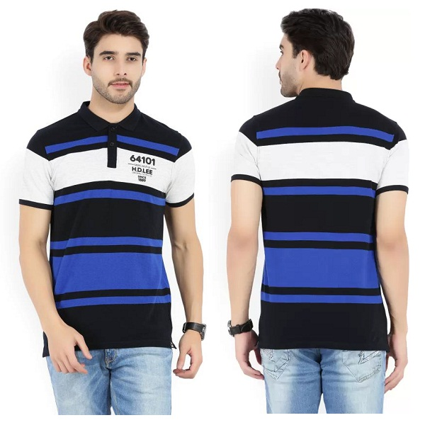 Lee Striped Mens Polo Neck Black Blue T Shirt