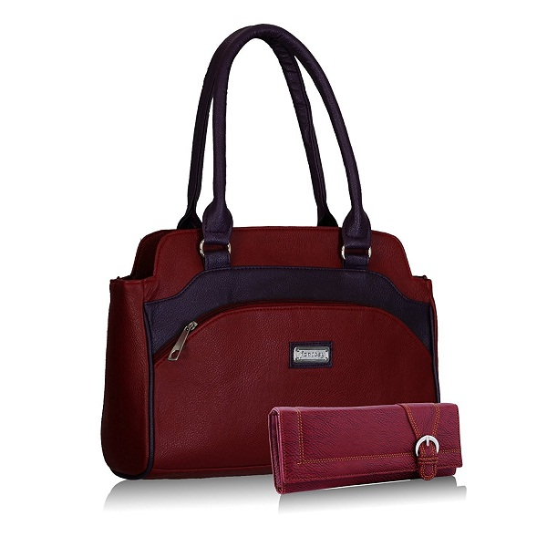 Fantosy women maroon and purple handbag and wallet