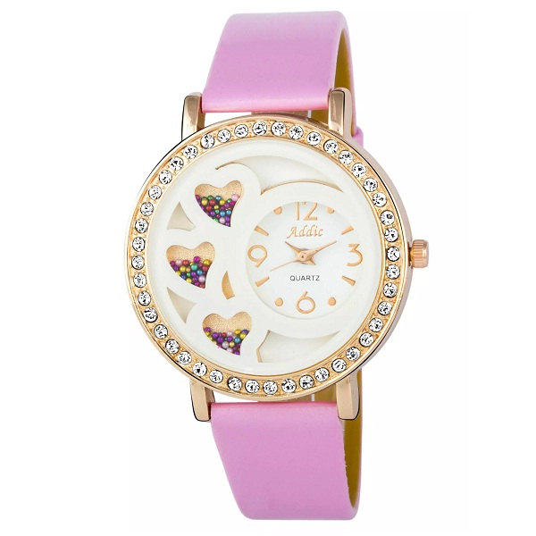 Addic Happy Hearts Studded Pink Belt Womens Watch