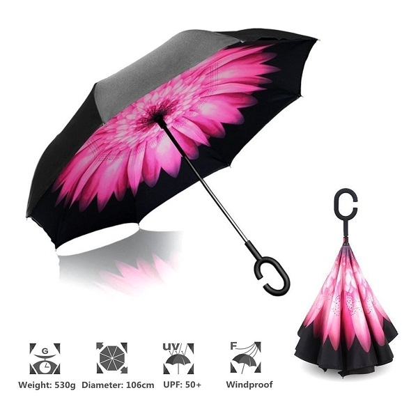 Vetci Black Pink Daisy Folding Umbrella