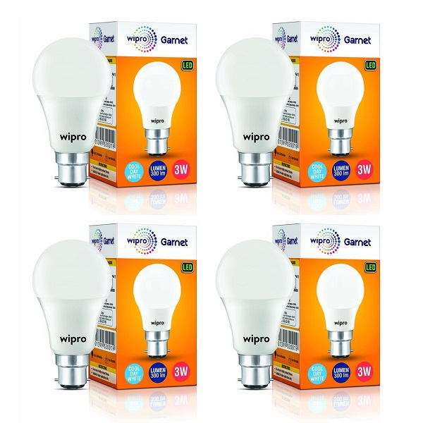 Wipro Garnet Base B22 3 Watt LED Bulb Pack of 4