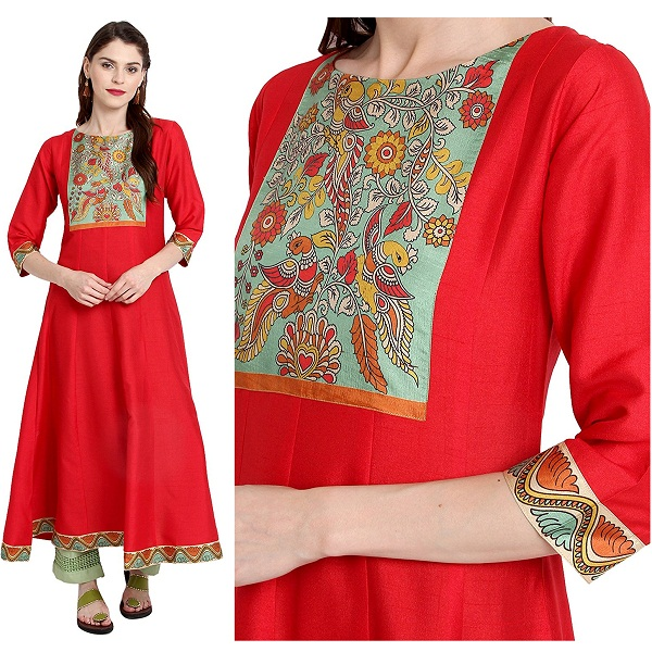 Janasya Womens Red Poly Silk Anarkali Digital Print Kurta