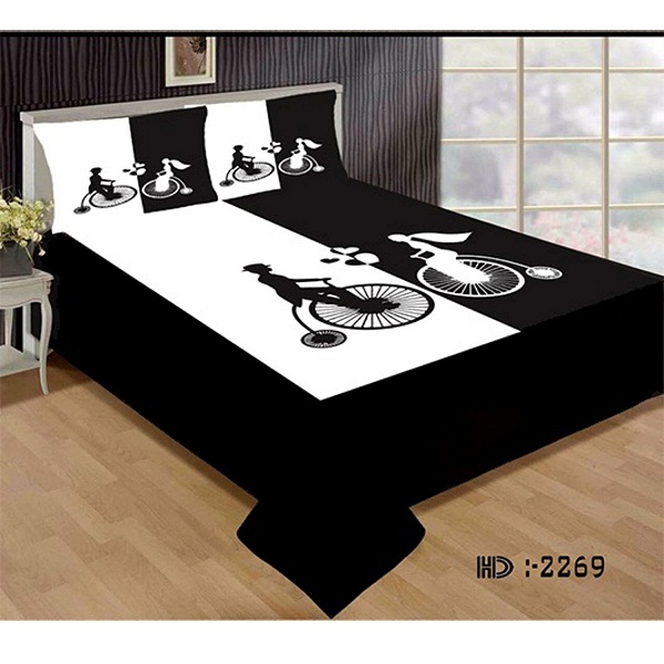 Cycle Symbol Double Bedsheet With Pillow Covers