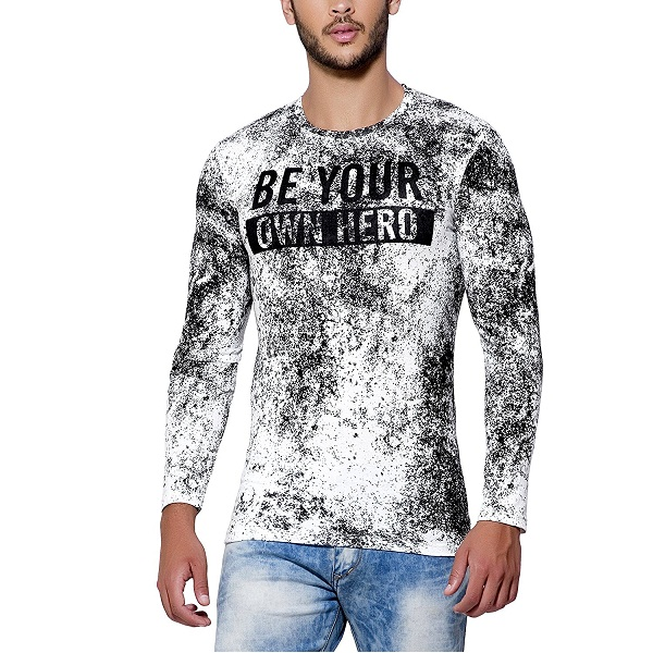 Maniac Mens Fullsleeve Round Neck All Over Printed Cotton Tshirt