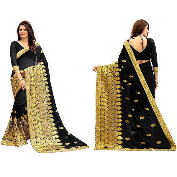 Siddeshwary Fab Womens Georgette Multi Color Saree With Blouse