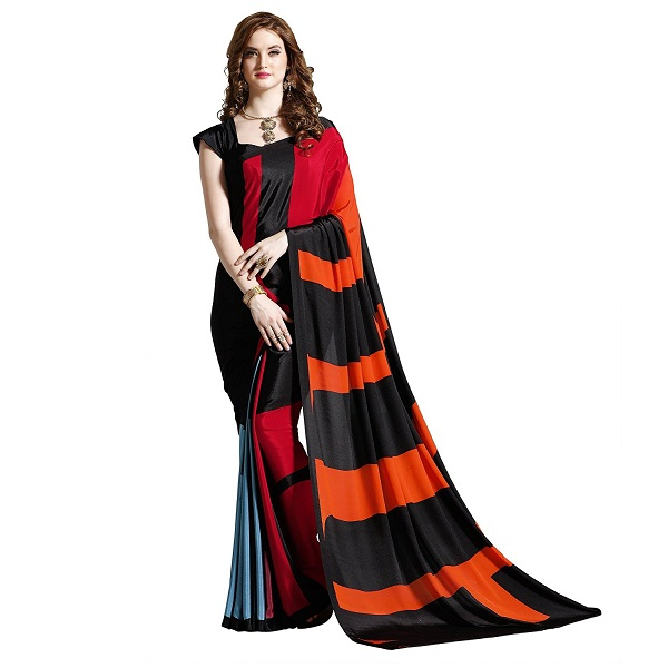 Jaanvi Fashion Womens Crepe Printed Saree
