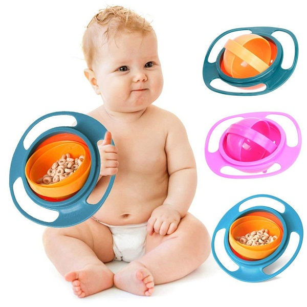 HomeFast Non Spill Feeding Toddler Gyro Bowl 360 Rotate Dishes