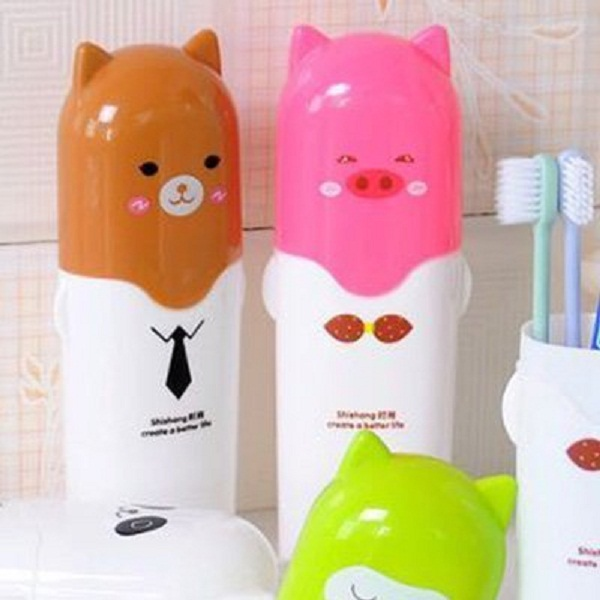 Ad Fresh 2 Pcs Cartoon Travel Toothbrush Storage Box