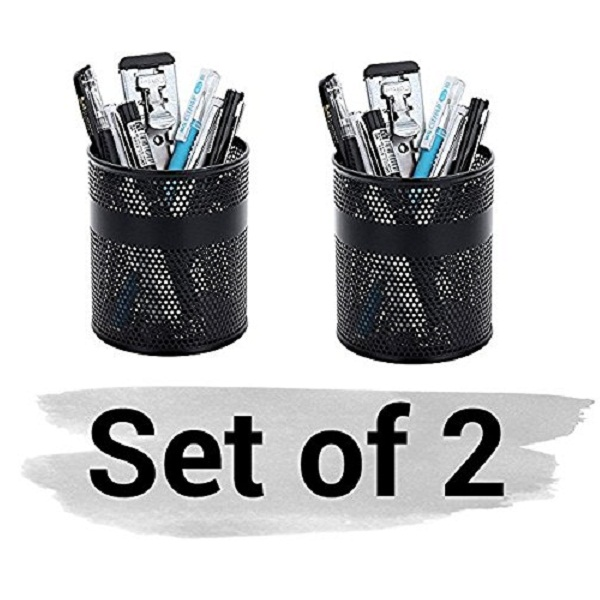 MeRaYo Black Single Round Mesh Metal Pen Holder