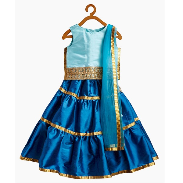Blue Gota Lace Tiered Three Piece Lehenga Set