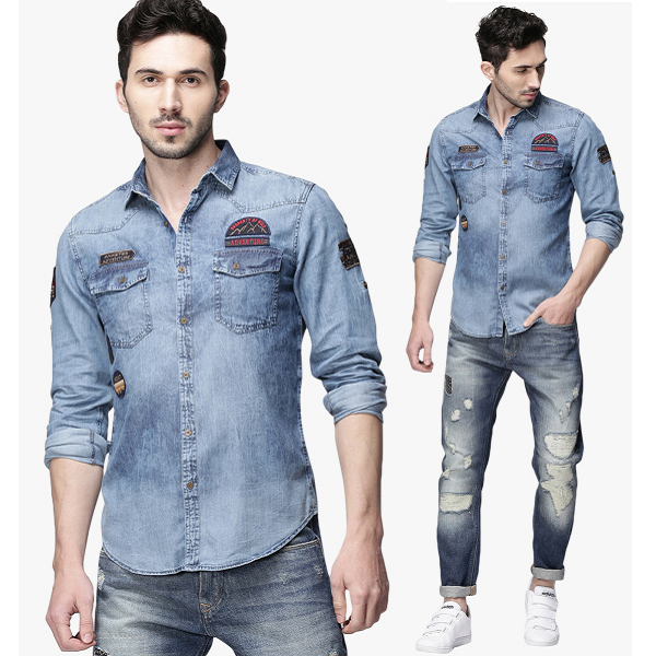 Ecko Unltd Blue Washed Denim Shirt