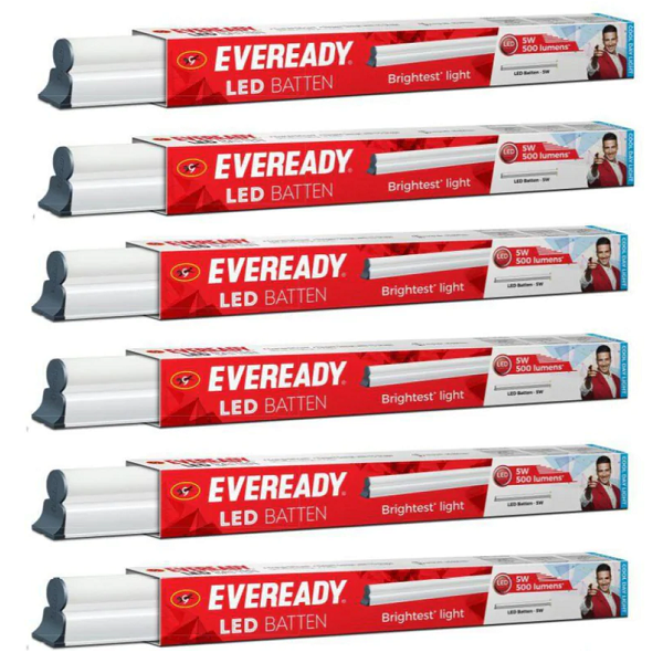 Eveready 6500K 5W LED Battens Set of 6