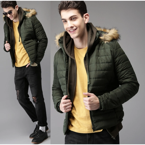 HERE And NOW Olive Green Solid Parka