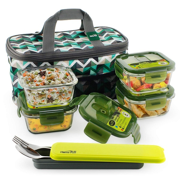 Home Puff Borosilicate Glass Lunch Box Set