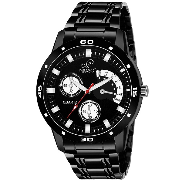 PIRASO Analogue Black Dial Mens Watch