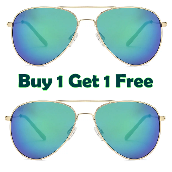 Golden Blue Green Mirror Full Rim Aviator Sunglasses