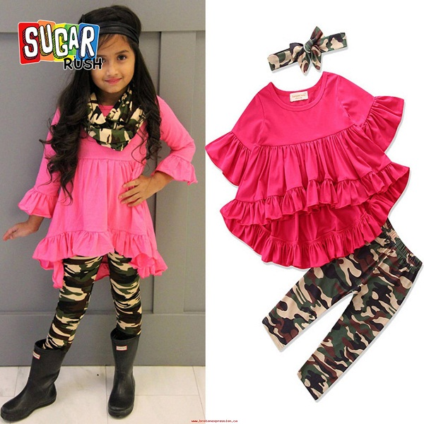 Sugar Rush Girls Red Flared Top with Camouflage Bottom