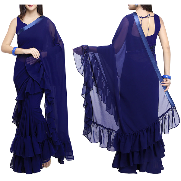 Ruffled Border Solid Saree With Blouse