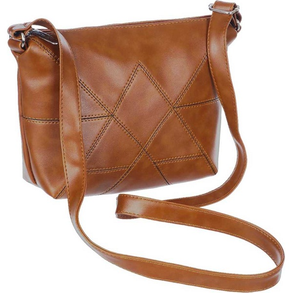 Women Casual Brown Leatherette Sling Bag
